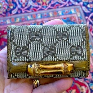 Authentic GUCCI GG Bamboo Key Case Holder